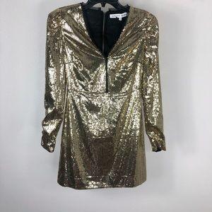 Rebecca Minkoff Gold Sydney Sequin V-Neck